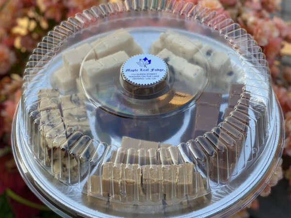Photo of a tray of fudge with flower background